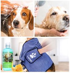 Hondenshampoo en handdoeken