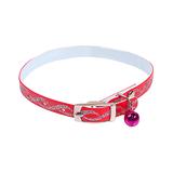Kattenhalsband met glitters en belletje rood
