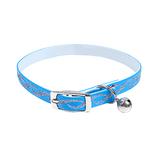 Kattenhalsband met glitters en belletje blauw
