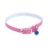 Kattenhalsband met glitters en belletje roze