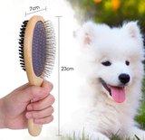 Tweezijdige borstel hout voor honden _