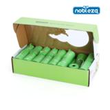 Een set van 30 rollen á 15 poepzakjes en een groene dispenser met aluminium gesphaak.
