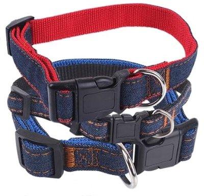Op = op Hondenhalsband spijkerstof