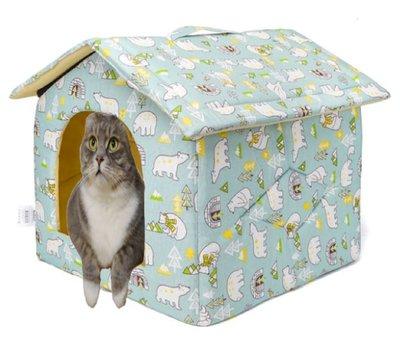 Stoffen huisje voor hondjes en katten