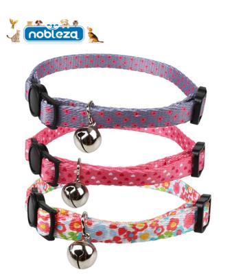 Kattenhalsband Roze / paars met belletje